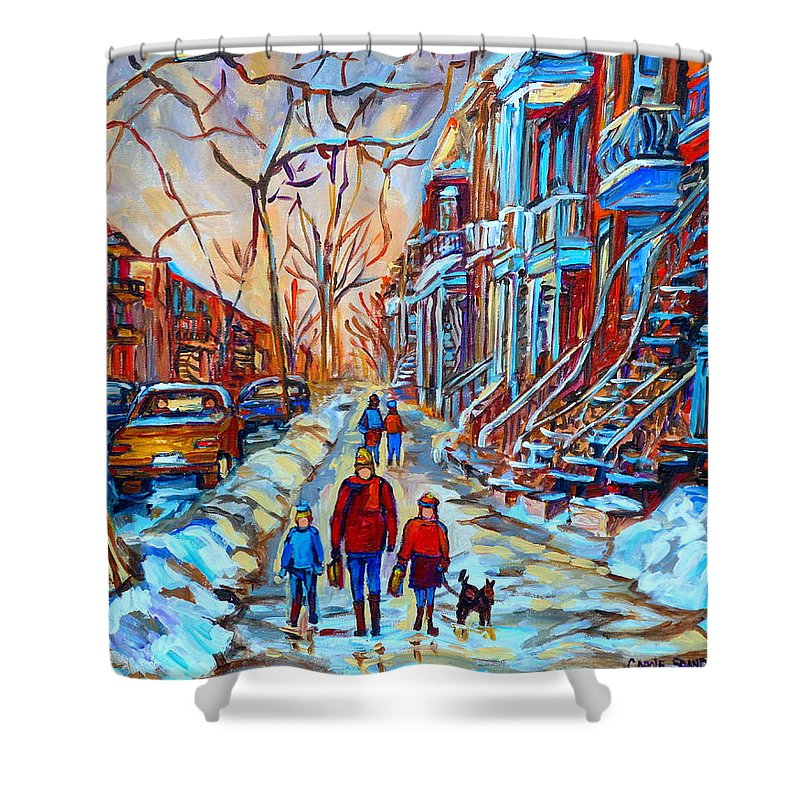 Plateau Montreal Shower Curtain featuring the painting Plateau Montreal Street Scene by Carole Spandau