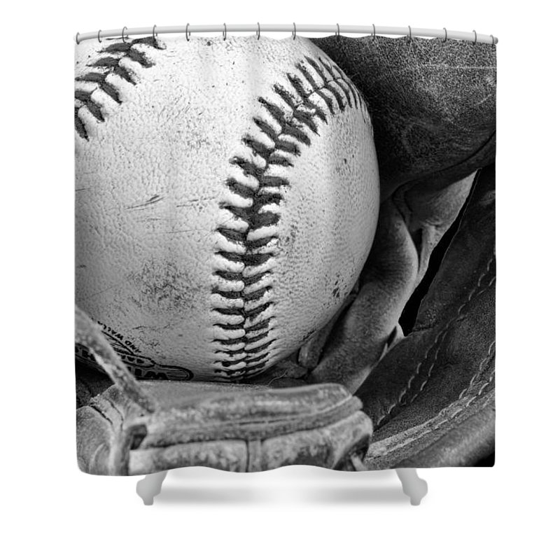 Baseball Shower Curtain featuring the photograph Play Ball by Don Schwartz