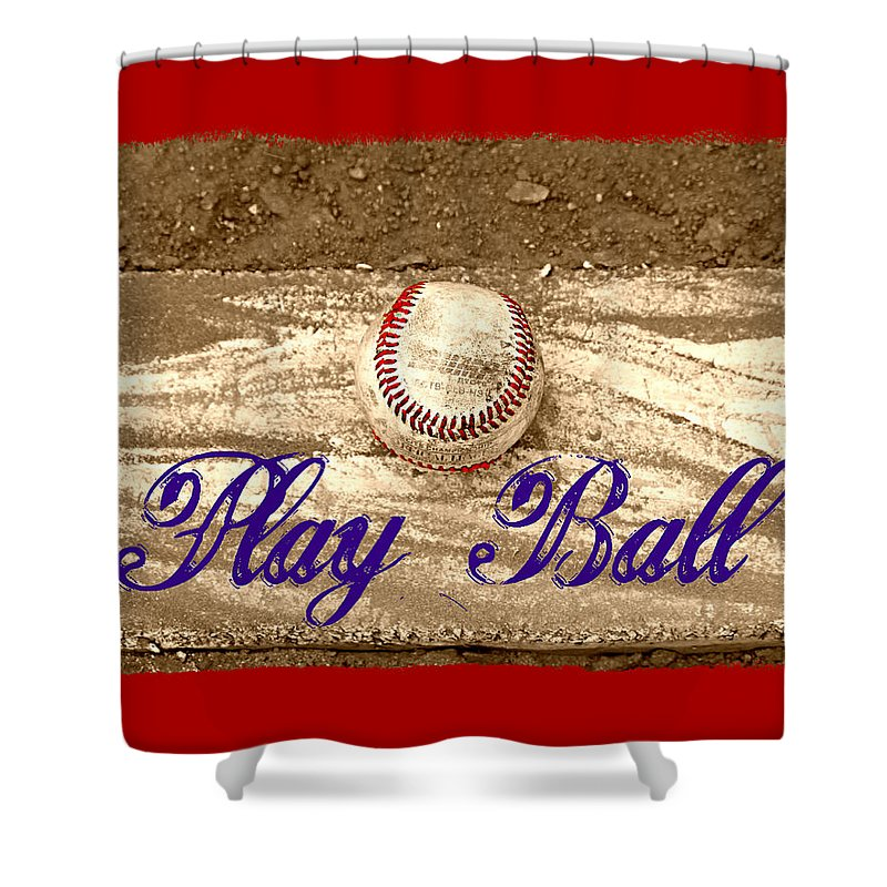 Baseball Shower Curtain featuring the photograph Play Ball by Tina Meador