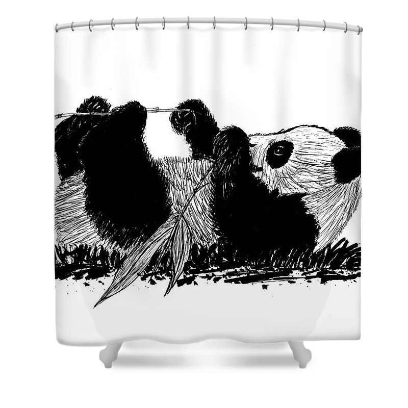 Panda Shower Curtain Featuring The Drawing Playful By Susan Turner Soulis