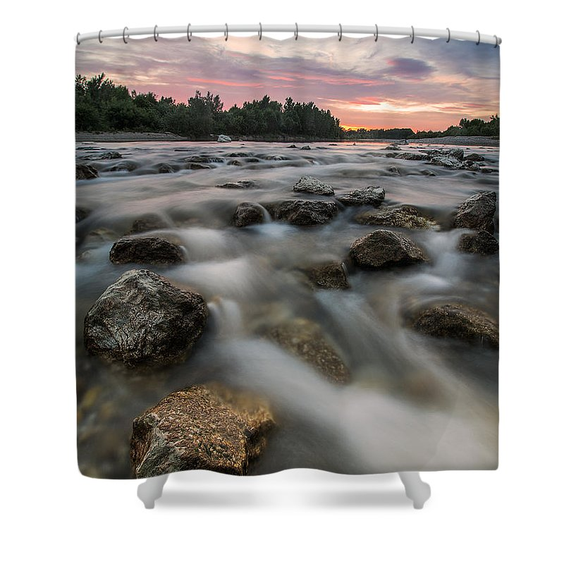 Landscape Shower Curtain featuring the photograph Playful River by Davorin Mance