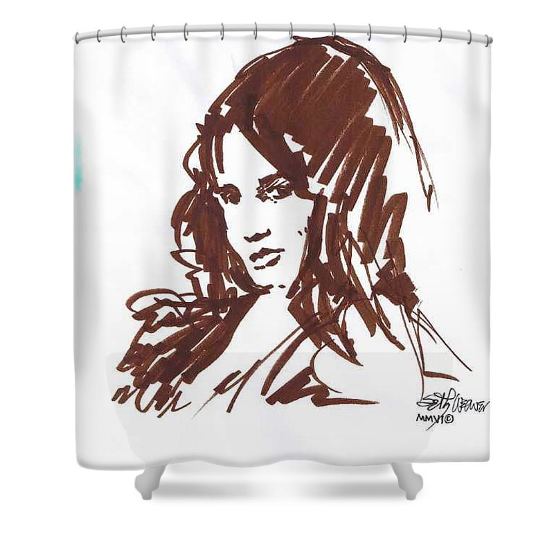 Playful Shower Curtain featuring the drawing Playful by Seth Weaver