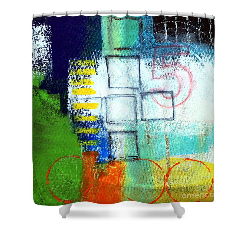Abstract Shower Curtain featuring the painting Playground by Linda Woods