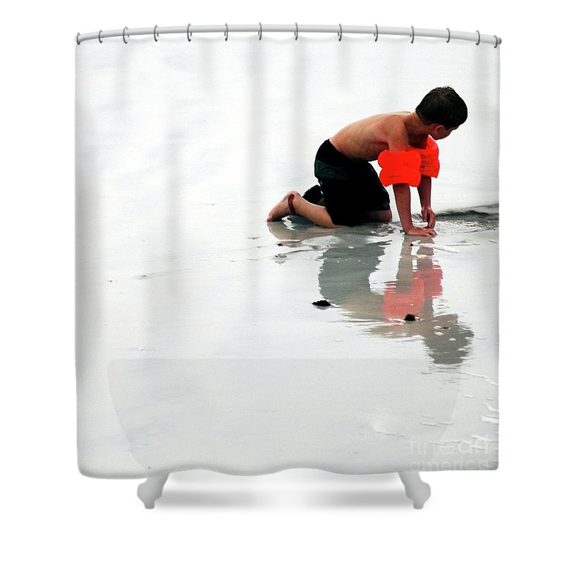 #child #boy Shower Curtain featuring the photograph Playing At Seashore by Kathleen Struckle
