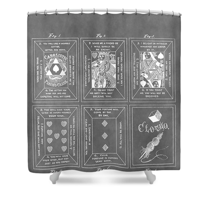 Playing Cards Patent Shower Curtain featuring the drawing Playing Cards by Dan Sproul