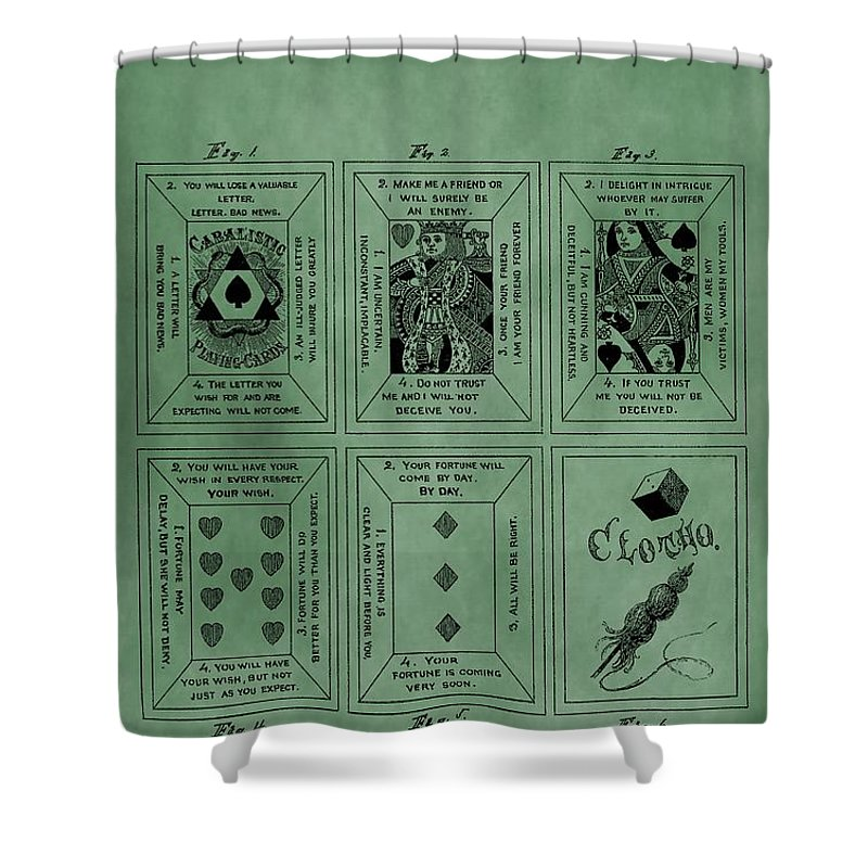 Playing Cards Patent Shower Curtain featuring the digital art Playing Cards Patent Green by Dan Sproul