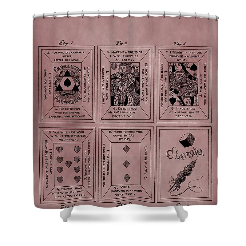 Playing Cards Patent Shower Curtain featuring the mixed media Playing Cards Patent Red by Dan Sproul