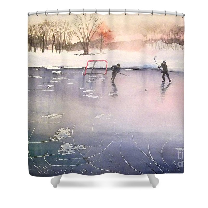Ice Hockey Shower Curtain featuring the painting Playing On Ice by Yoshiko Mishina