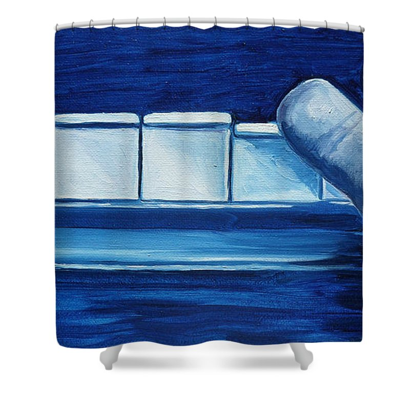 Piano Shower Curtain featuring the painting Playing The Blues by Julie Brugh Riffey