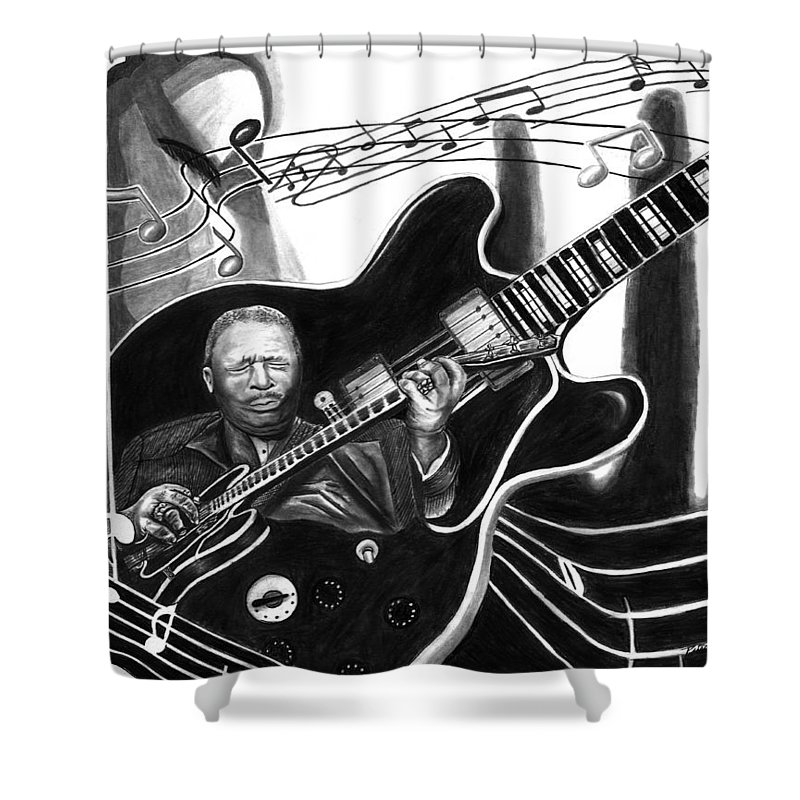 Playing With Lucille - Bb King Shower Curtain featuring the drawing Playing With Lucille - Bb King by Peter Piatt