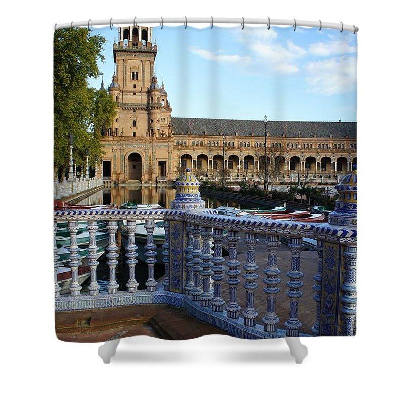 Seville Shower Curtain featuring the photograph Plaza De Espana by Jenny Hudson
