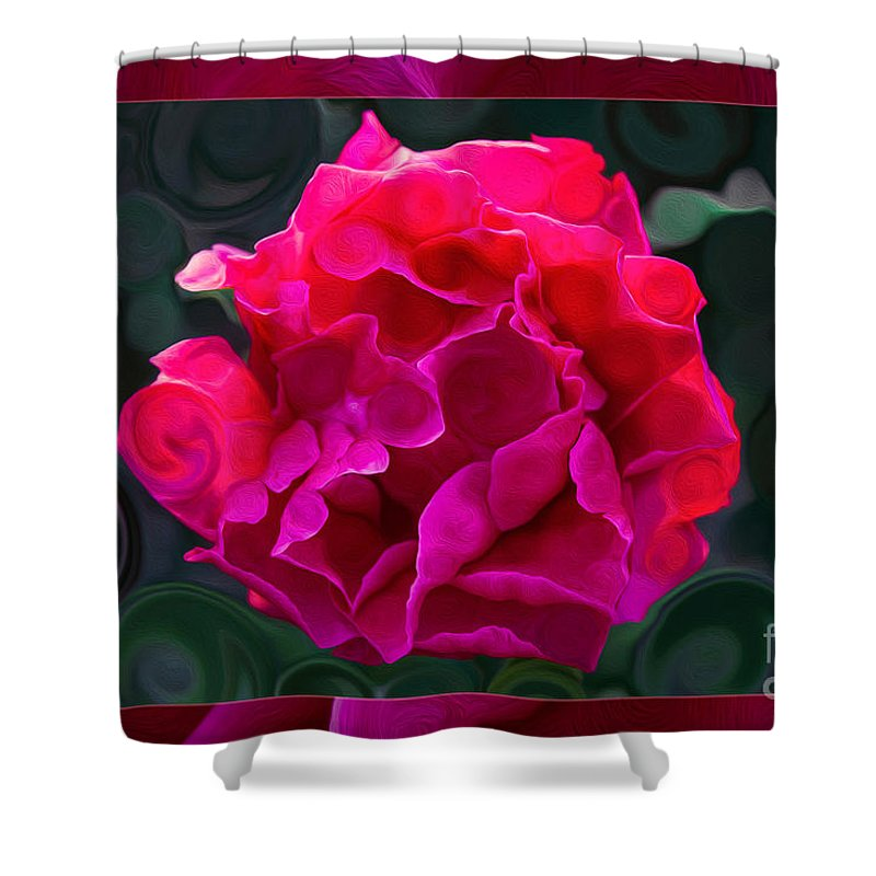 Plentiful Supplies Of Pink Peony Petals Abstract Shower Curtain featuring the painting Plentiful Supplies Of Pink Peony Petals Abstract by Omaste Witkowski