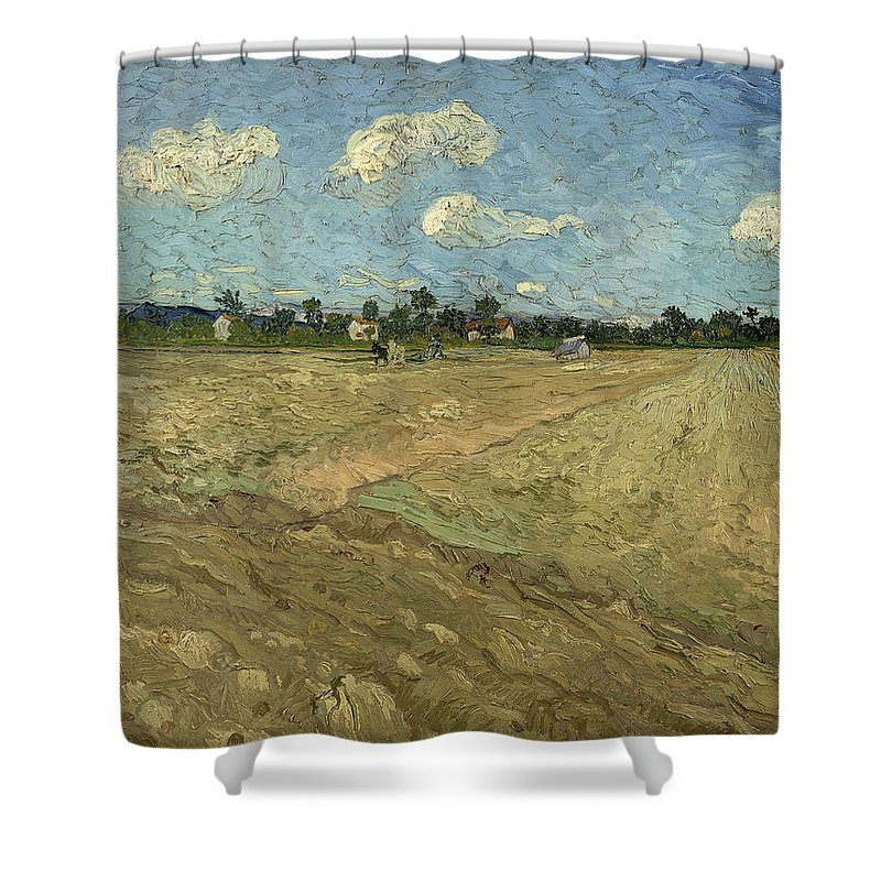 Ploughed Fields Shower Curtain featuring the digital art Ploughed Fields by Georgia Fowler