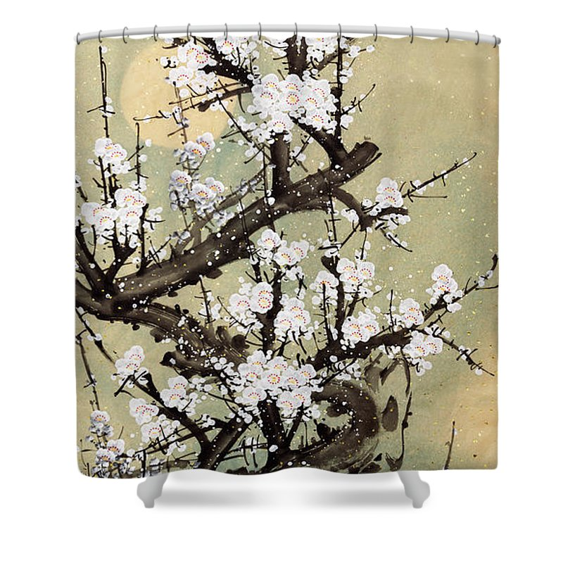 Chinese Culture Shower Curtain featuring the digital art Plum Blossom by Vii-photo