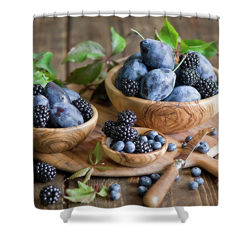 Plum Shower Curtain featuring the photograph Plums And Berries by Verdina Anna
