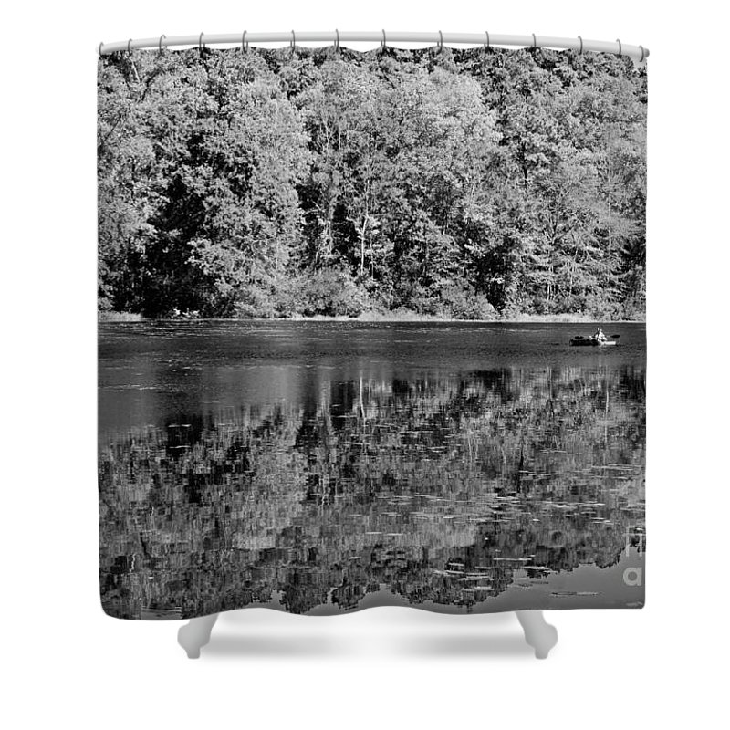Kayak Shower Curtain featuring the photograph Poinsett State Park In Black And White by Sandra Clark