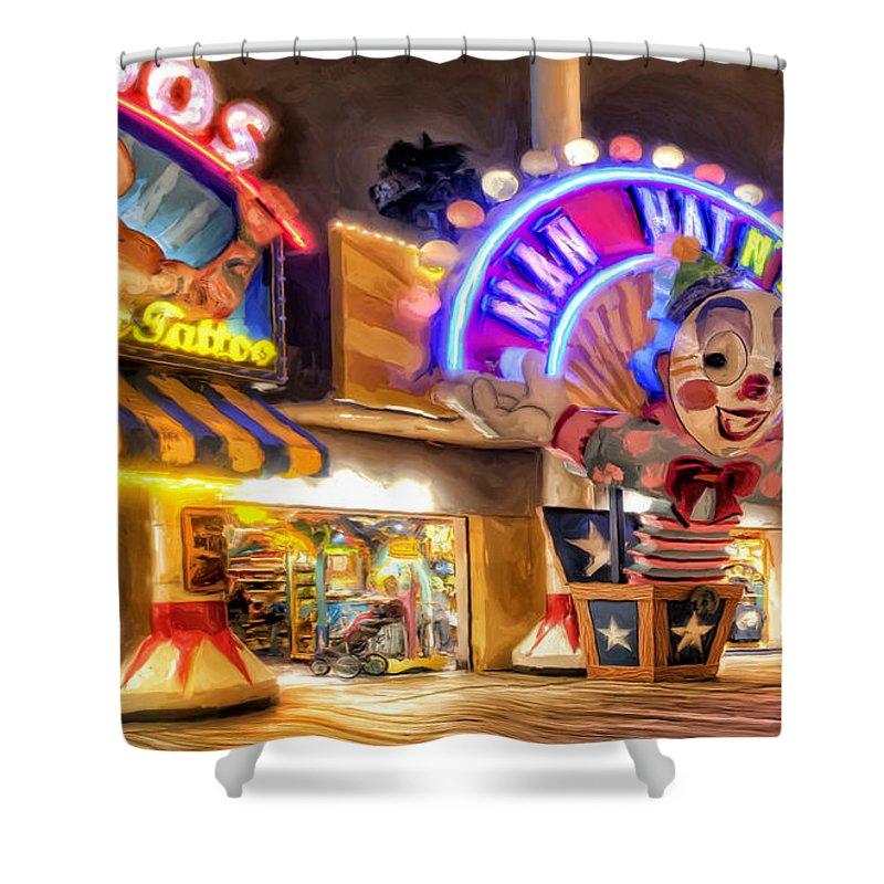 Disneyland Shower Curtain Featuring The Painting Point Mugu Tattoo By Michael Pickett