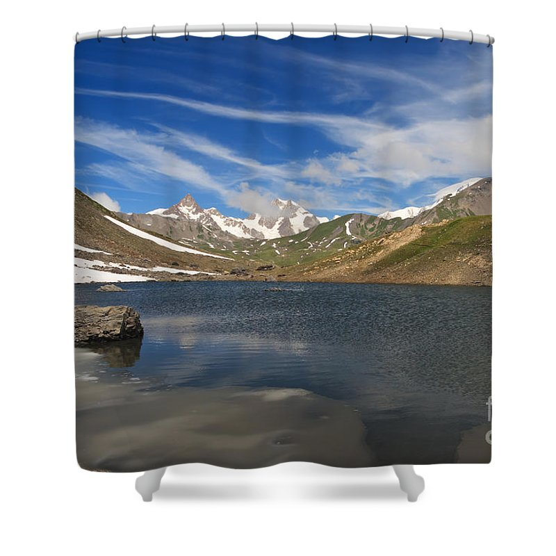Alpine Shower Curtain featuring the photograph Pointe Rousse Lake by Antonio Scarpi