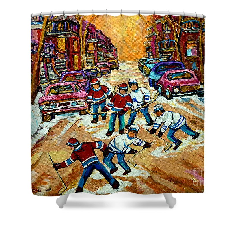 Montreal Shower Curtain featuring the painting Pointe St.charles Hockey Game Winter Street Scenes Paintings by Carole Spandau