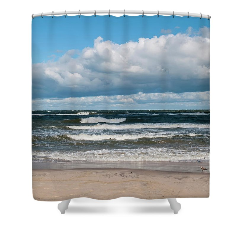 Water's Edge Shower Curtain featuring the photograph Poland, View Of Baltic Sea In Autumn At by Westend61