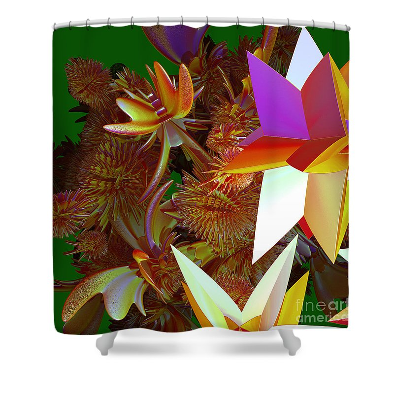First Star Shower Curtain featuring the digital art Pollination By Jammer by First Star Art