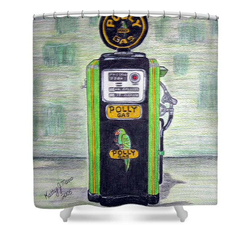 Parrot Shower Curtain featuring the painting Polly Gas Pump by Kathy Marrs Chandler