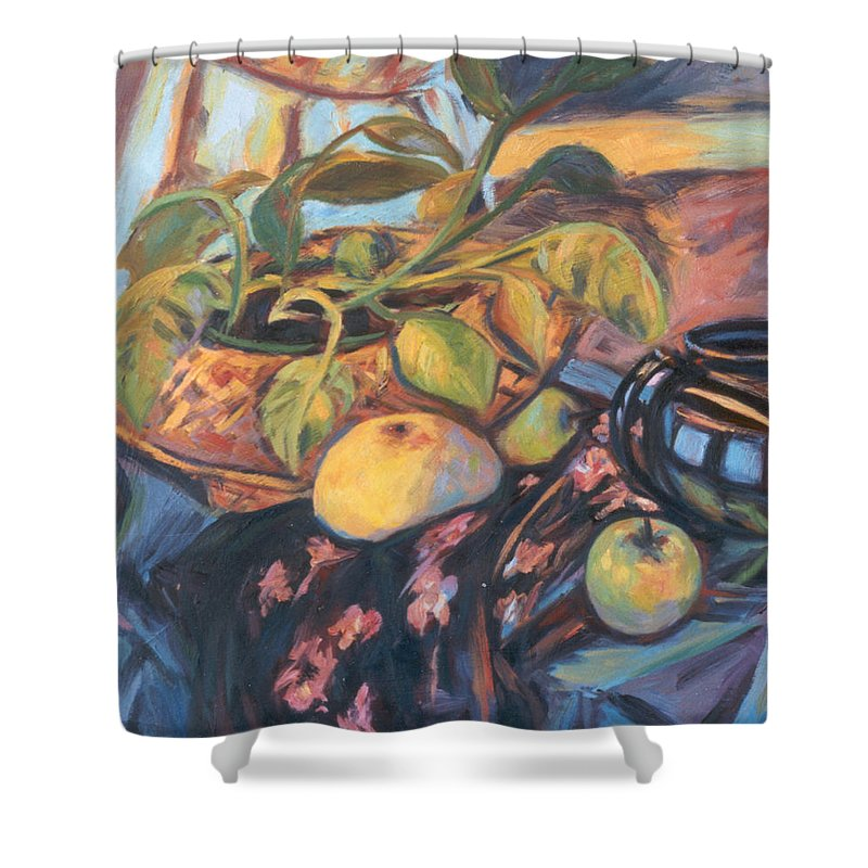 Still Life Shower Curtain featuring the painting Pollys Plant by Kendall Kessler