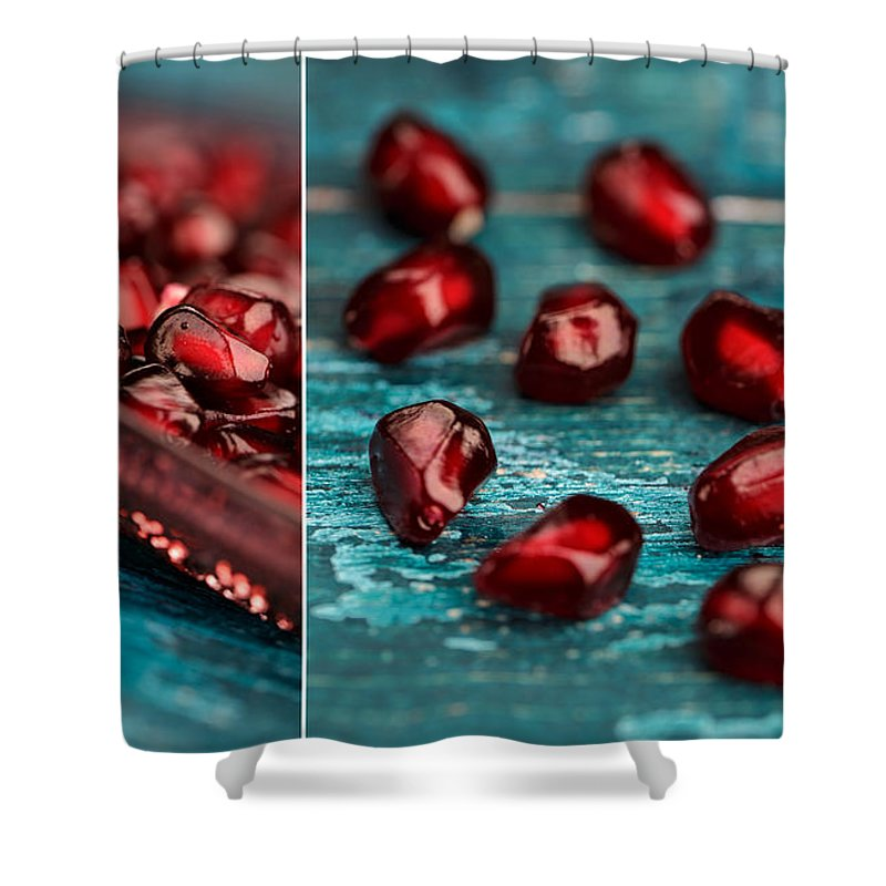 Pomegranate Shower Curtain featuring the photograph Pomegranate Collage by Nailia Schwarz