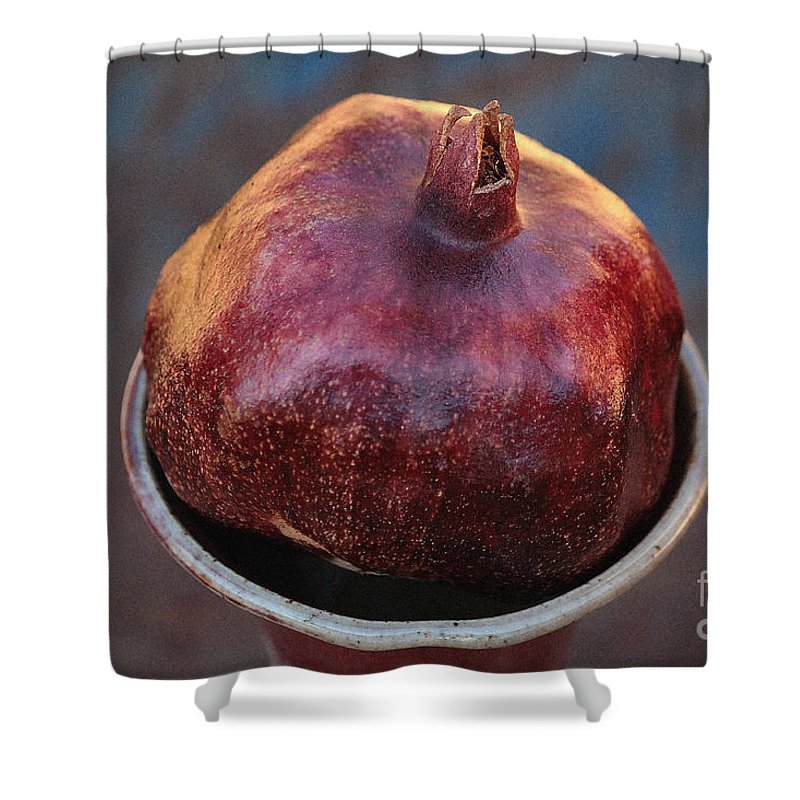 Pomegranate Shower Curtain featuring the photograph Pomegranate In A Vase by Luv Photography