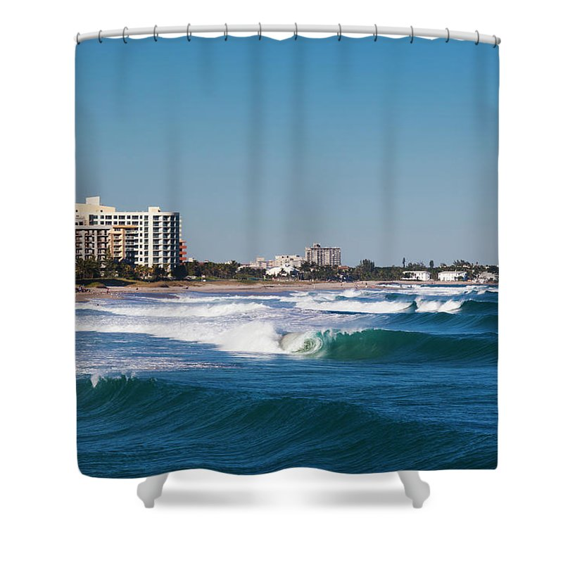 Tranquility Shower Curtain featuring the photograph Pompano Beach, Florida, Exterior View by Walter Bibikow