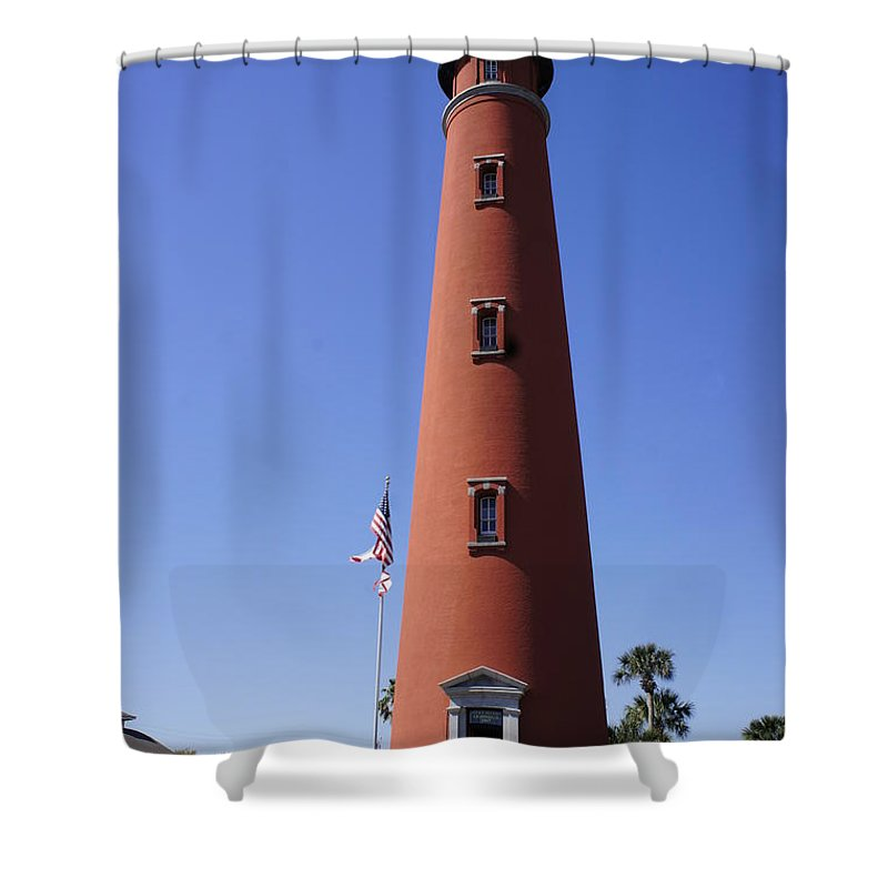 Ponce Inlet Lighthouse Shower Curtain featuring the photograph Ponce Inlet Lighthouse by Laurie Perry