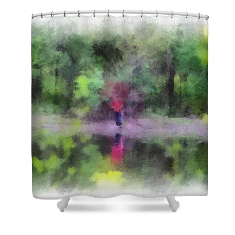 Fishing Pond Shower Curtain featuring the photograph Pond Fishing Photo Art by Thomas Woolworth