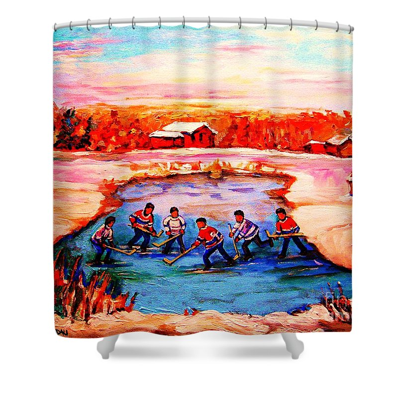 Pond Hockey Shower Curtain featuring the painting Pond Hockey Game By Montreal Hockey Artist Carole Spandau by Carole Spandau