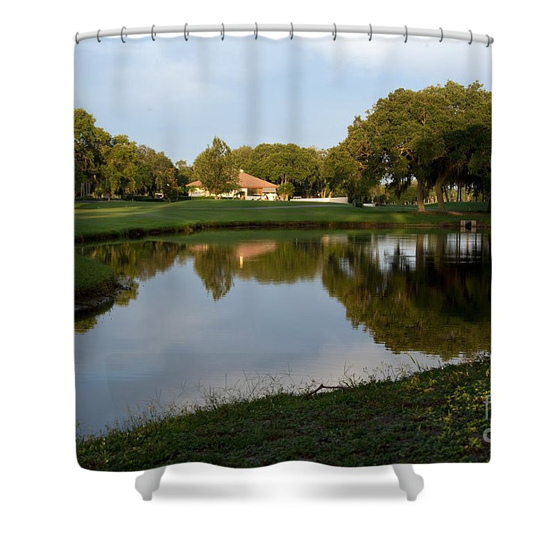 Club Shower Curtain featuring the photograph Pond View by Mary Koenig Godfrey