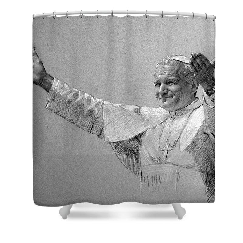 Pope John Paul Ii Shower Curtain featuring the drawing POPE JOHN PAUL II bw by Ylli Haruni