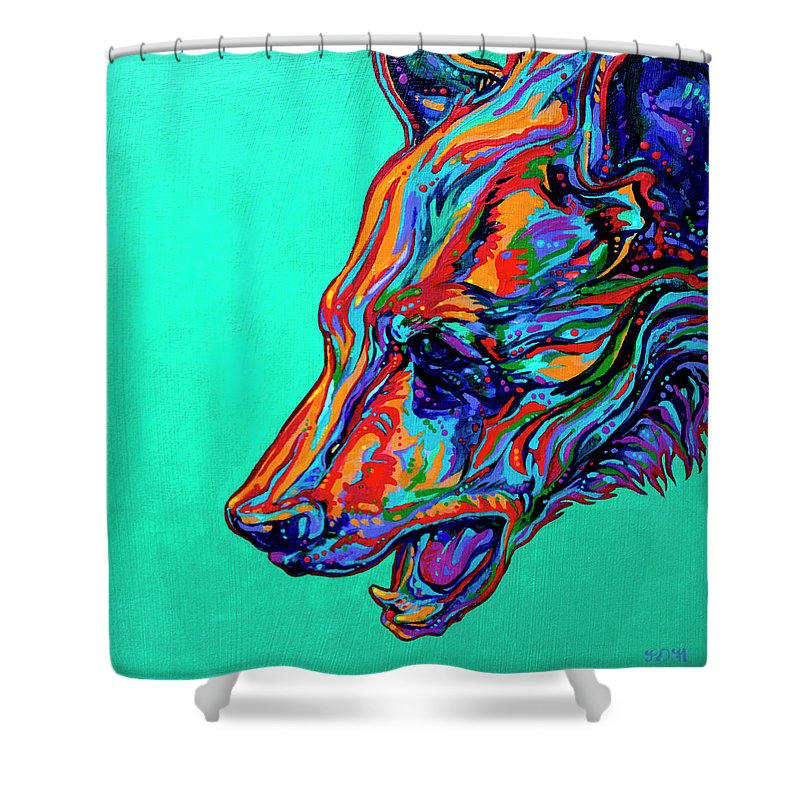 Contemporary Paintings Shower Curtain featuring the painting Poppa Bear by Derrick Higgins