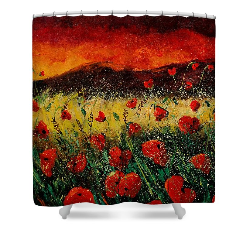 Poppies Shower Curtain featuring the painting Poppies 68 by Pol Ledent