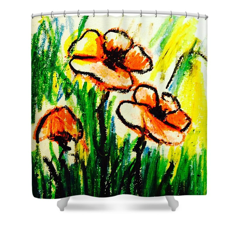 Shower Curtain featuring the painting Poppies Garden 2 by Hae Kim