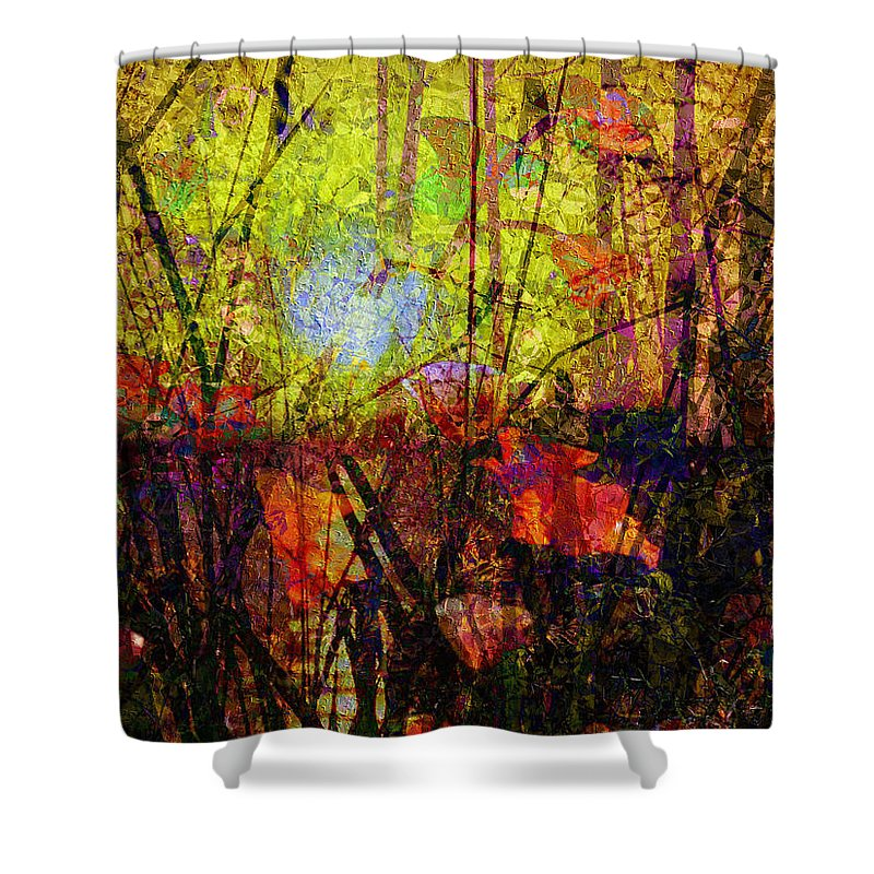 Poppies In Paradise Shower Curtain featuring the mixed media Poppies In Paradise by Kiki Art