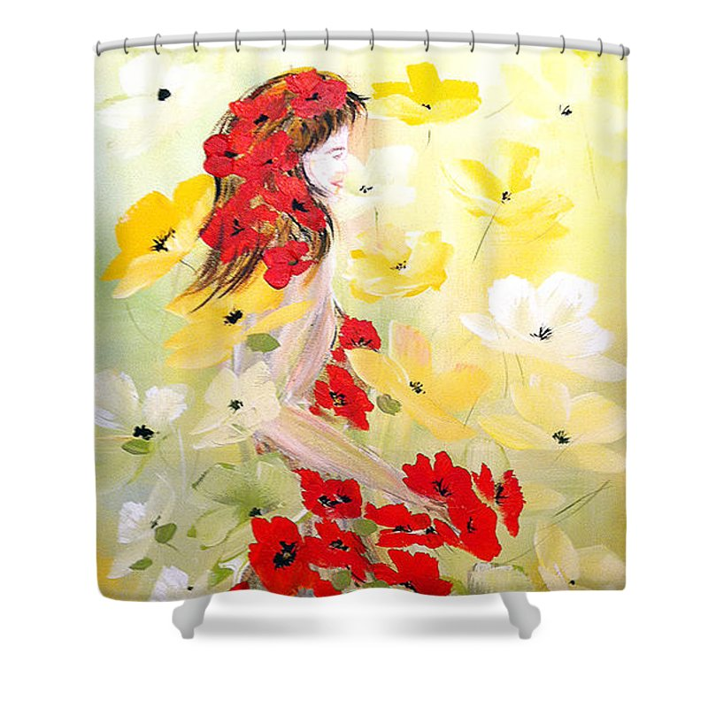 Poppies Lady Shower Curtain featuring the painting Poppies Lady by Dorothy Maier