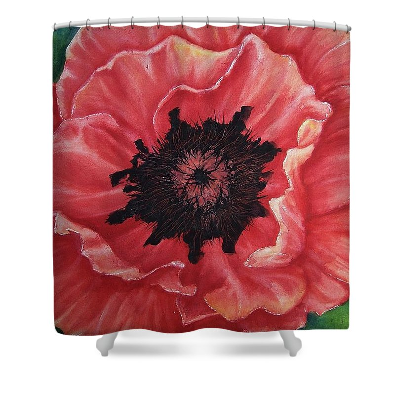Poppy Shower Curtain featuring the painting Poppy by Conni Reinecke