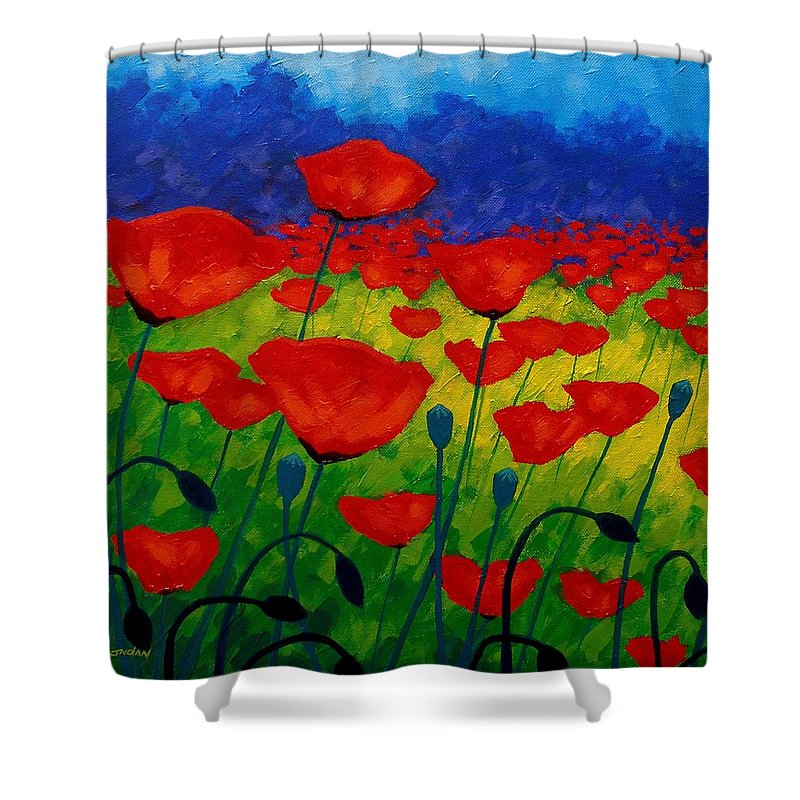 Poppies Shower Curtain featuring the painting Poppy Corner II by John Nolan
