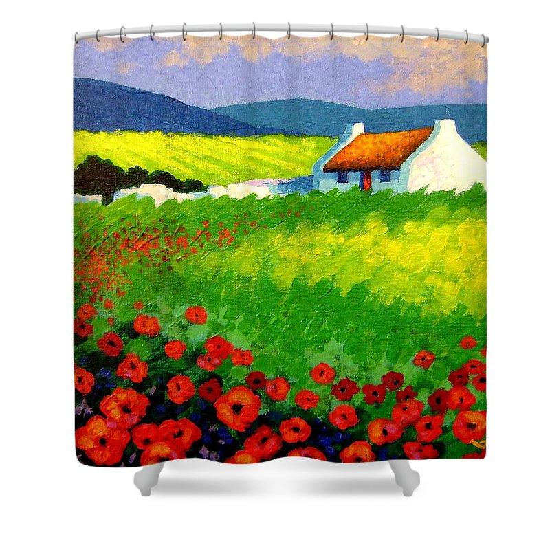 Ireland Shower Curtain featuring the painting Poppy Field - Ireland by John Nolan