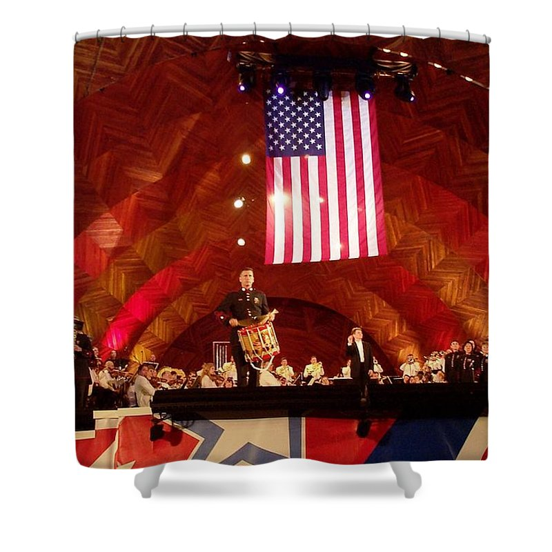 July Fourth Shower Curtain featuring the photograph Pops Finale by Barbara McDevitt