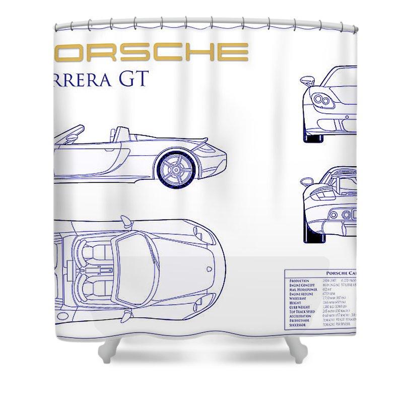 Porsche Carrera Gt Blueprint Shower Curtain featuring the photograph Porsche Carrera Gt Blueprint by Jon Neidert