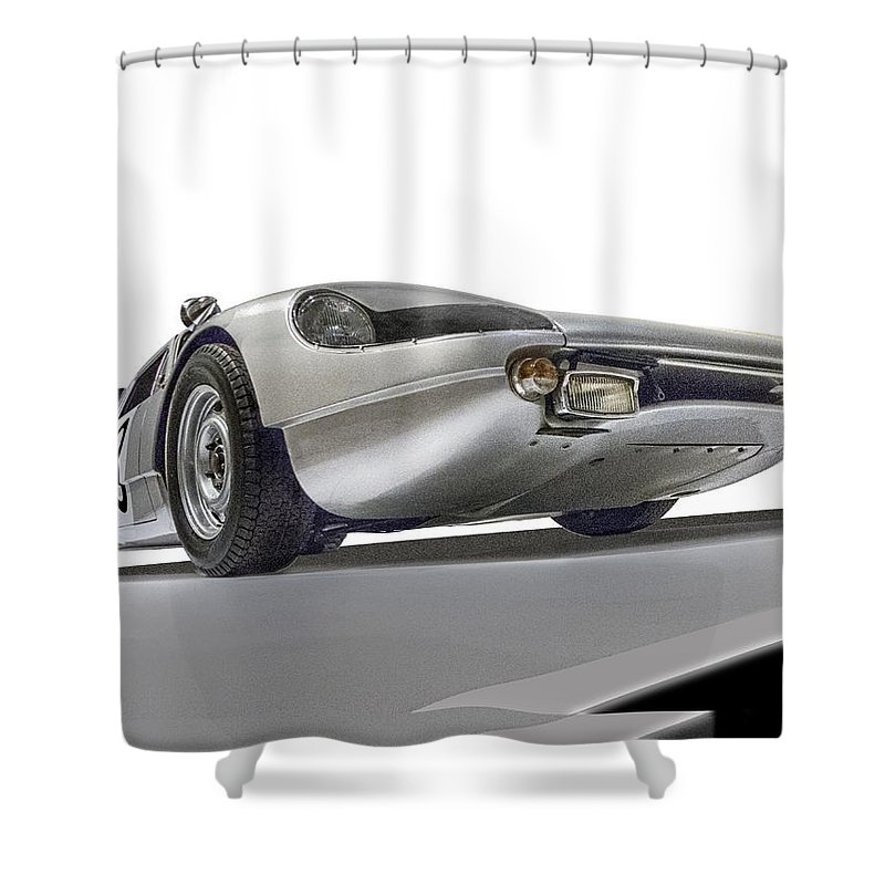 Porsche 904-6 Shower Curtain featuring the photograph Porsche Nine O Four Low Angle by Gary Warnimont