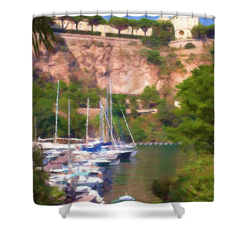 Blue Shower Curtain featuring the painting Port And Palace by Jeffrey Kolker