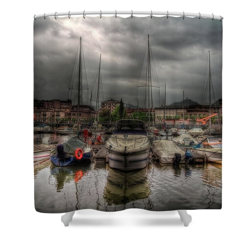 Boat Shower Curtain featuring the photograph Port At Como Lake by Roberto Pagani