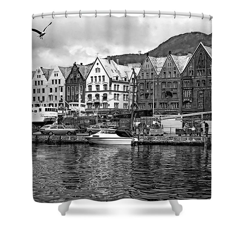Alesund Shower Curtain featuring the photograph Port Life Bw by Steve Harrington