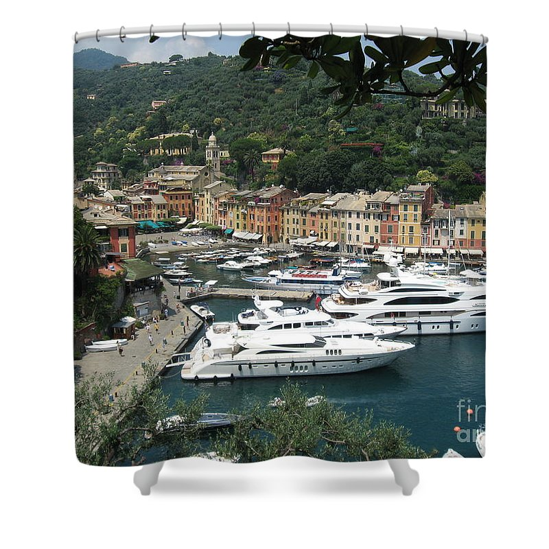 Port Shower Curtain featuring the photograph Port Of Portofino by Christine Huwer